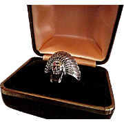 Indian Chief Sterling Silver Ring made by Scott Dave