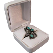 Silver & Turquoise Navajo Ring ** Artist Signed **