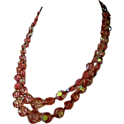 Charming Pink 15 Inch Double Stranded Glass Beaded Necklace