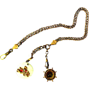 Vintage Watch Chain with Compass