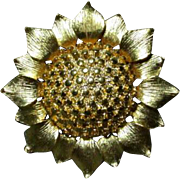 "Lovely Sun Flower Brooch by ""Gem-Craft"""