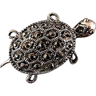 Turtle & Frog Set of Marcasite Pins Brooches