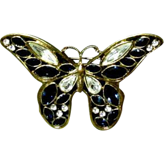 Exceptional Blue & White Rhinestone Butterfly Brooch