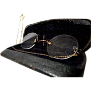 Vintage Prince Nez Eyeglasses or Spectacles w/ Original Case