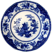 Exceptional Ridgway 1845 Flow Blue Peking Pattern Dinner Plate