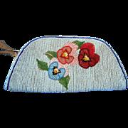 Pretty Soft Blue Beaded Hand Bag or Purse