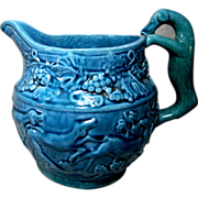 Blue Glazed Ceramic Hunting Scene Water Pitcher with Molded Dog Handle