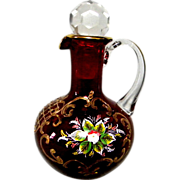 Wonderful Red Bohemian Glass Hand Painted Cruet