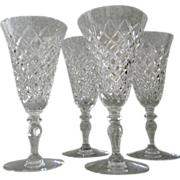 Set of 4 Hawkes Water Goblets in the Delft Diamond Pattern