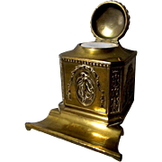 All Brass Jennings Brothers # 1622 Inkwell & Pen Rest ** Ink Well