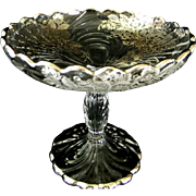 Cambridge Caprice Silver Overlay ( Blossom Time Pattern) Candy Dish  Silver Deposit