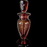 New Martinsville Exceptional Lavender Glass Perfume Bottle & Stopper  ** Viking