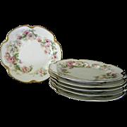 Set of 4 ,  Pretty Haviland Limoges Dessert Plates