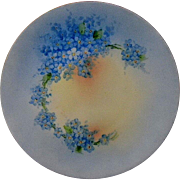 """Lovely Bavarian """"Favorite""""  Signed Forget-Me-Not Hand Painted Cabinet Plate J.H. Stouffer  Hutschenreuther"""