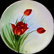 G.E.O. Studio Hand Painted Cabinet Plate of Springtime Tulips