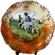 Hand Painted, Artist Signed,  Cabinet Plate Pastoral Scene w/ Shepherd & Goats