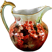T & V  Limoges Artist Signed and Hand Painted Pitcher - Red Tag Sale Item
