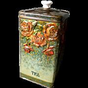 Vintage Hinged Tea Tin With Ceramic Knob