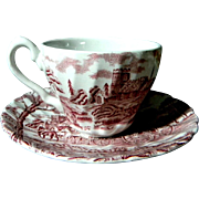 "Myott Staffordshire Demitasse Cup & Saucer Red Transferware ""Royal Mail"""