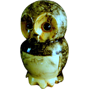 Alabaster Hand Carved Owl Paperweight or Figurine Paper Weight