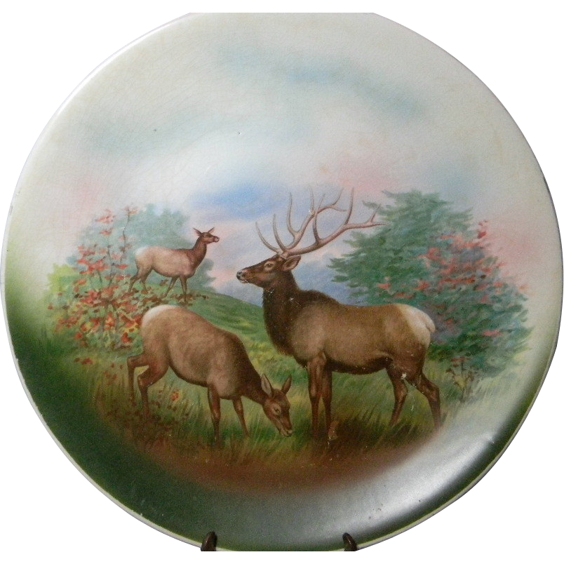Elk Lighting Owner: Large Vintage Game Plate With Elk From Carolines On Ruby Lane