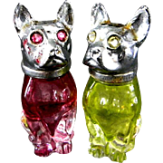 Vintage Glass Dogs with Rhinestone Eyes Salt & Pepper Shakers