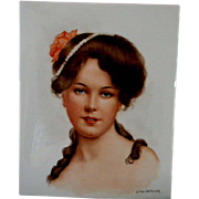 Large Tile Portrait of Beautiful Woman **Signed  Lillian Walkowiak