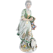 Farm Girl Figurine by Sitzendorf Porcelain Early 1900's