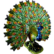 Spectacular Hand Painted Peacock Ring Box *Dresser*Trinket*