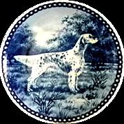 Beautiful Blue Danish Porcelain Plate with English Setter