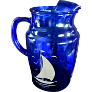 Anchor Hocking Blue Sail Boat Pitcher