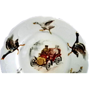 English or German Child's Pitcher and Dish with Goat, Duck, Goose, Cat, Dog, and Car & People