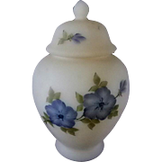 Fenton Blue 5 Petal Dogwood Satin Custard Ginger Jar