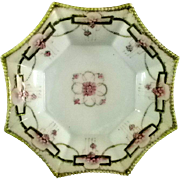 Unusual 8 Sided Nippon Bowl with Moriage Decoration