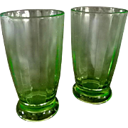 2 Green Depression Glass Tumblers