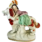 Staffordshire Girl Riding Dog Figurine ** Authentic
