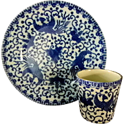 Blue Phoenix Flying Turkey Nippon Sandwich Dish & Handleless Cup