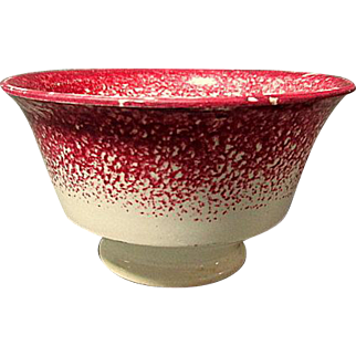 Red Spongeware Handleless Cup  ** circa 1850's