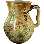 "Large  German  ""ES"" Hand Painted Pitcher circa late 1800's"