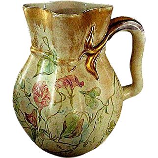 """Large  German  """"ES"""" Hand Painted Pitcher circa late 1800's"""