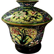 Apple Blossom & Flower Cloisonne Lidded Bowl