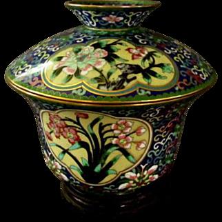 Apple Blossom & Flower Cloisonne Lidded Bowl