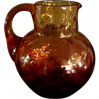 Exceptional Reverse Amberina Glass Pitcher  ** Antique**