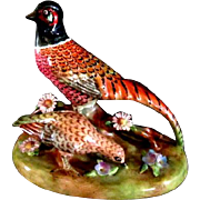 Crown Staffordshire  Pheasant Pair Figurine designed by J.T. Jones