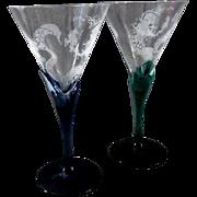 Mermaid Crystal Cocktail or Margarita Glasses