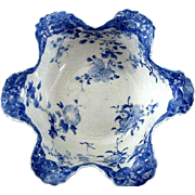 Beautiful Flow Blue Oriental Bowl with Ruffled Rim