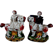 Staffordshire Girl & Dog .... Boy & Dog , Pair .... Authentic