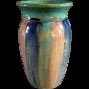 Vintage HULL Striped Stoneware Vase