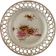 Beautiful Pierced China Dessert Dish with Zennias