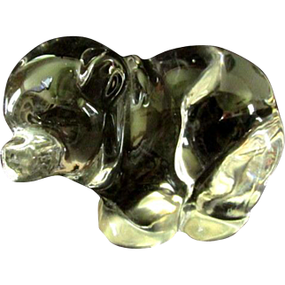 Clear Crystal Bear with Turned Head by Viking Glass